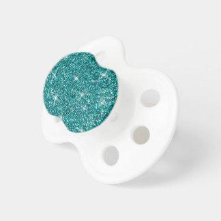 Teal iridescent glitter pacifier