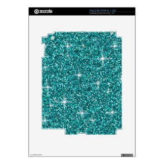 Teal iridescent glitter skin for iPad 2