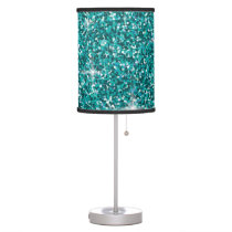 Teal iridescent glitter table lamp
