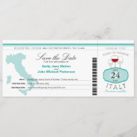 Teal Italy Boarding Pass Wedding Invitation