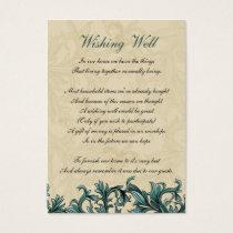 Teal ivory Vintage Flourish Wedding Business Card