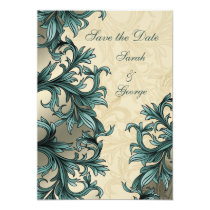 Teal ivory Vintage Flourish Wedding Card