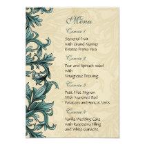 Teal ivory Vintage Flourish Wedding Card