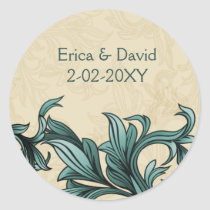 Teal ivory Vintage Flourish Wedding Classic Round Sticker