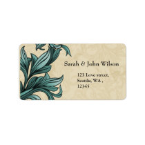 Teal ivory Vintage Flourish Wedding Label