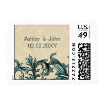 Teal ivory Vintage Flourish Wedding Postage