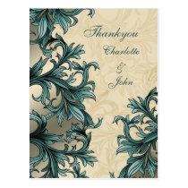 Teal ivory Vintage Flourish Wedding Postcard