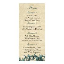 Teal ivory Vintage Flourish Wedding Rack Card
