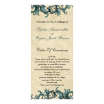 Teal ivory Vintage Flourish Wedding Rack Card