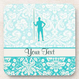 Teal Javelin Throw Beverage Coasters