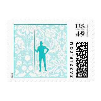 Teal Javelin Throw Postage Stamps
