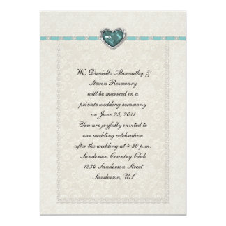 Teal Jewel Heart Ribbons & Lace Post Wedding 5x7 Paper Invitation Card