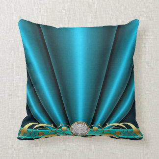 Teal Jeweled Scroll Pillow