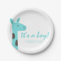 Teal Jungle Giraffe It's a Boy Baby Shower Party Paper Plate