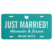 Teal Just Married License Plate For Wedding Car at Zazzle