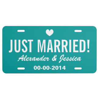 Teal Just married license plate for wedding car License Plate