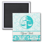 Teal Justice Scales 2 Inch Square Magnet