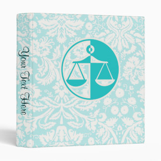 Teal Justice Scales 3 Ring Binder