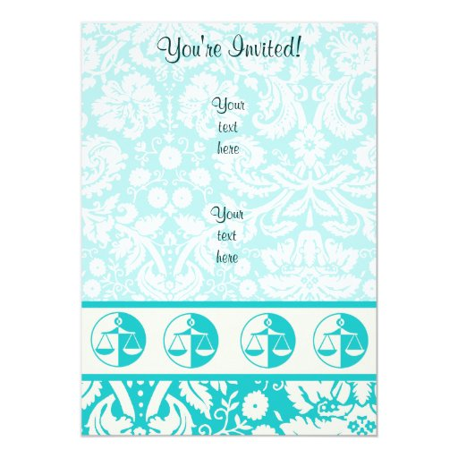 """Teal Justice Scales 5"""" X 7"""" Invitation Card"""