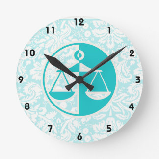 Teal Justice Scales Round Wall Clock