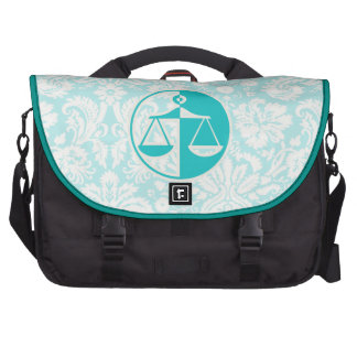 Teal Justice Scales Laptop Bags