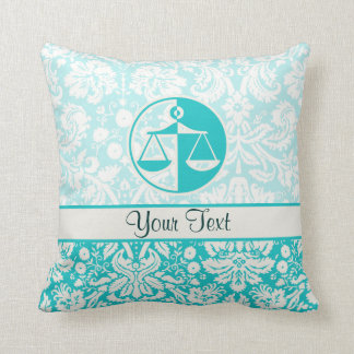 Teal Justice Scales Throw Pillow