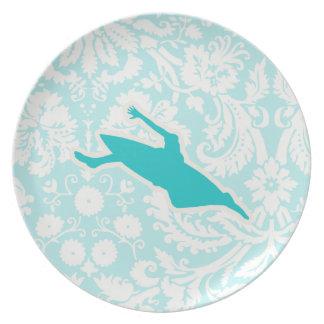 Teal Kayaking Dinner Plates