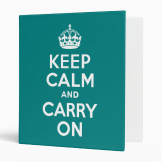 Teal Keep Calm and Carry On 3 Ring Binder