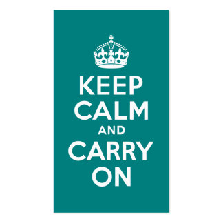 Teal Keep Calm and Carry On Business Cards