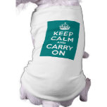 Teal Keep Calm and Carry On Dog T-shirt