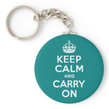 Teal Keep Calm and Carry On Keychain