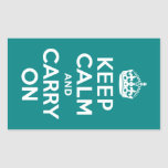 Teal Keep Calm and Carry On Rectangle Stickers