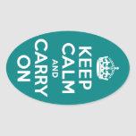 Teal Keep Calm and Carry On Stickers