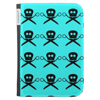 Teal Kindle Case Skull with Shears