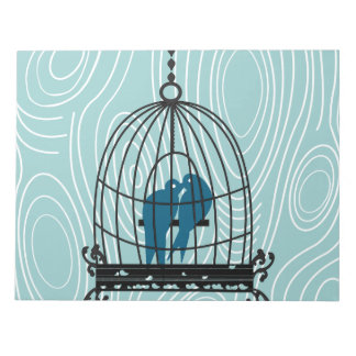 Teal Kissing Love Birds Scrapbook Page or Crafts Notepad