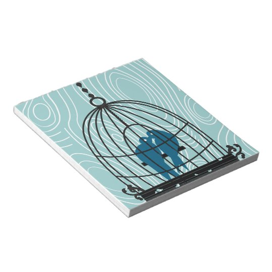 Teal Kissing Love Birds Scrapbook Pages or Crafts Notepad