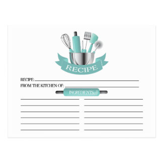 Teal Kitchen Tools Bridal Shower Recipe Cards