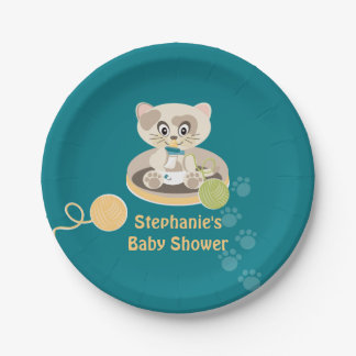 Teal Kitty Cat in Diapers Baby Shower Paper Plate