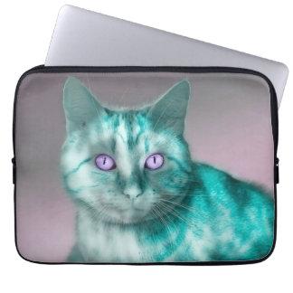 Teal Kitty Laptop Sleeves