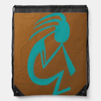 Teal Kokopelli Drawstring Backpack