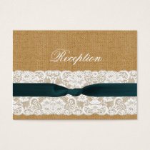 Teal Lace and Burlap Wedding Business Card