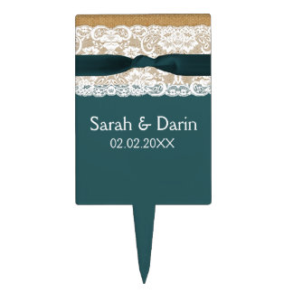Teal Lace and Burlap Wedding Cake Topper