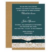 Teal Lace and Burlap Wedding Card