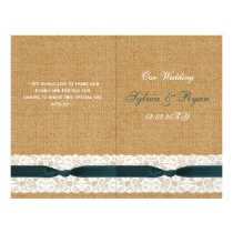 Teal Lace and Burlap Wedding Flyer