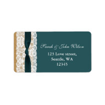 Teal Lace and Burlap Wedding Label