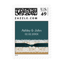 Teal Lace and Burlap Wedding Postage