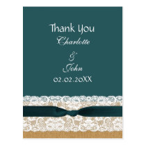 Teal Lace and Burlap Wedding Postcard