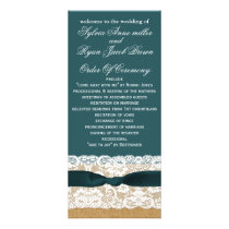 Teal Lace and Burlap Wedding Rack Card