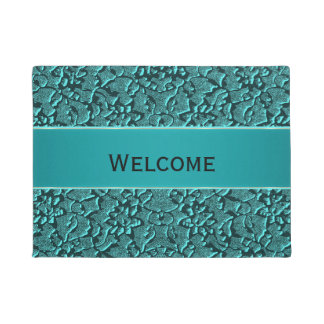 Teal Lace Brocade Look Welcome Mat