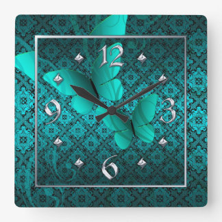 Teal Lace Butterflies Clock Silver Numbers